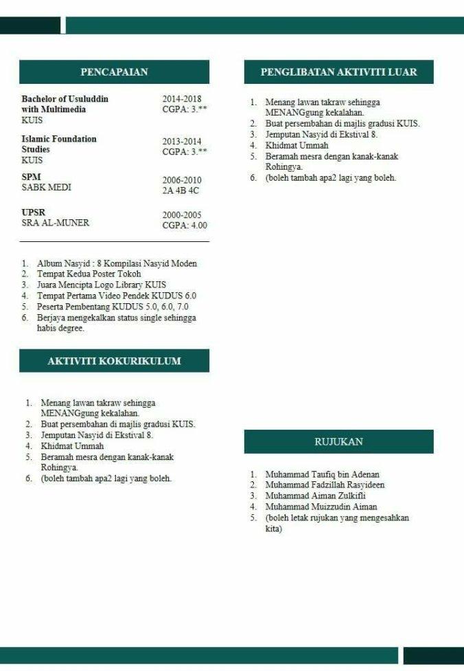 template resume mudah  u0026 cantik guna powerpoint  u2013 fstm kuis