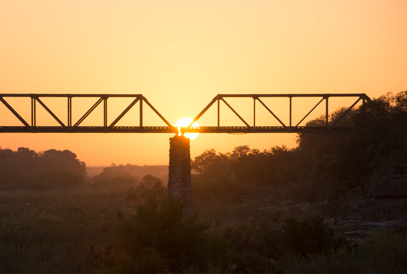Sunrise over Sabie Bridge, Kruger National Park, South Africa. Nikon d800 + Nikon 70-200 f/2.8 lens @ f/8, 1/100 second, ISO100.