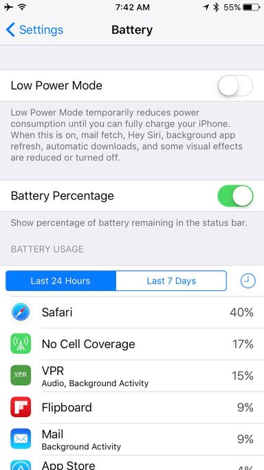 Showing iPhone battery as a percentage