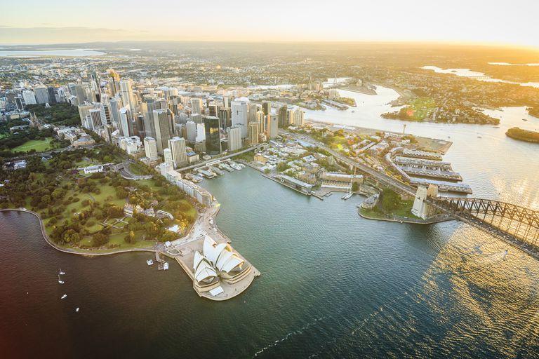 Sydney şehir manzarası, Sidney, Yeni Güney Galler, Avustralya hava görünümü