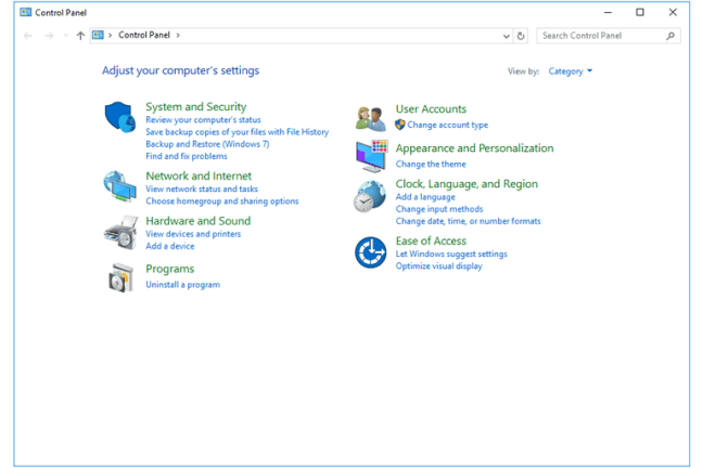 Screenshot of the Control Panel in Windows 10