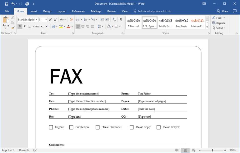 Screenshot of a fax template in Microsoft Word
