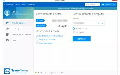 Screenshot of TeamViewer v13 in Windows 8