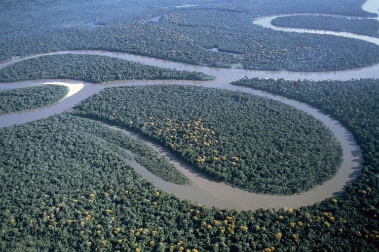 Amazon Nehri, Amazon Ormanı, Brezilya ve Güney Amerika'nın havadan görünüşü
