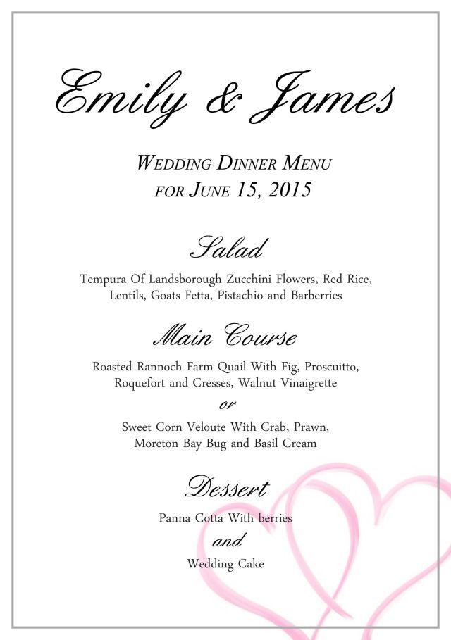 Wedding Menu Template  Free Download