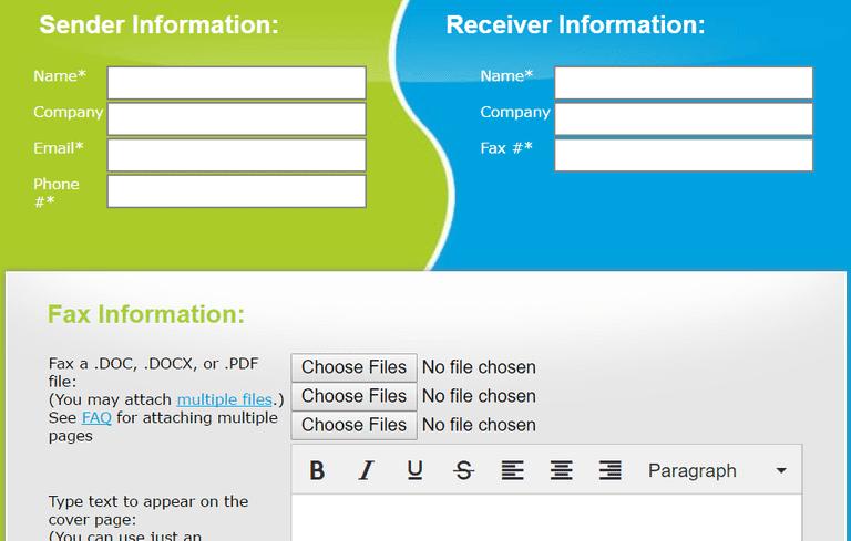 Screenshot of the FaxZero service