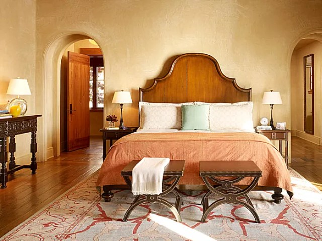 Mediterranean style bedroom designed by Susan Schippman for Scavullo Design.