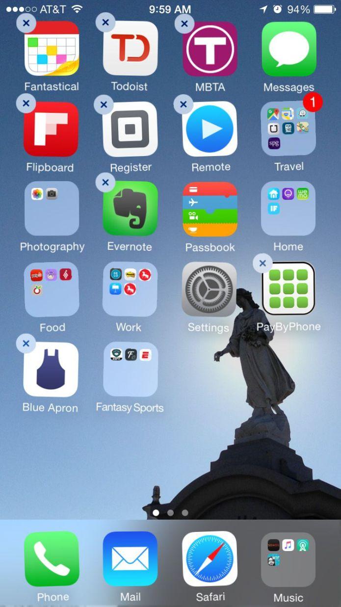 Rearrange iPhone apps