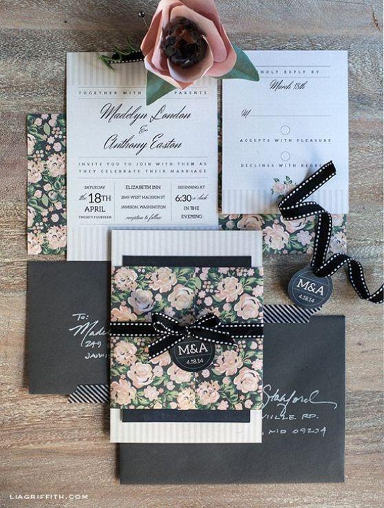 Printable Vintage Blush And Charcoal Wedding Invitation