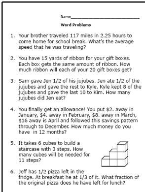 6th grade math answers