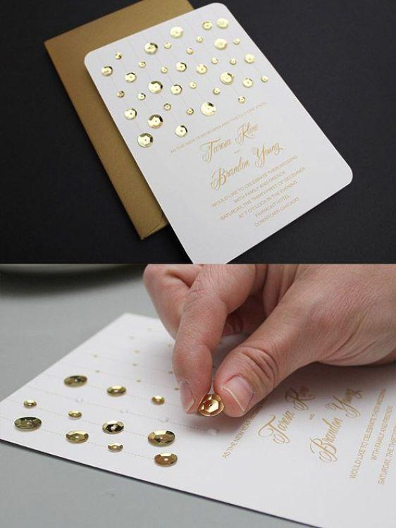 DIY Sequin Wedding Invitation