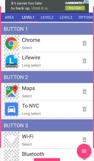 Снимок экрана с кнопками уровня 1 в приложении Android Pie Control