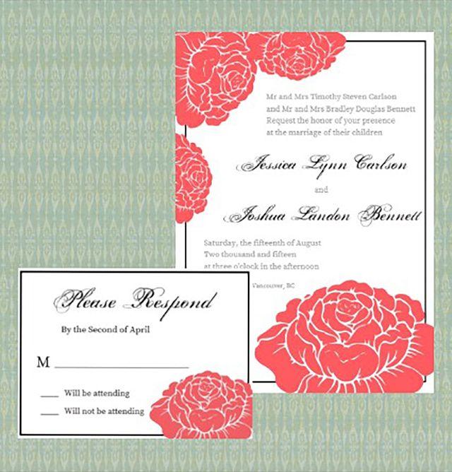 Garden Rose Printable Wedding Invitation