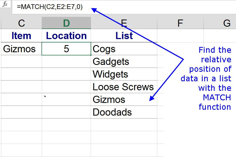 Excel Match Function Finding The Location Of Data
