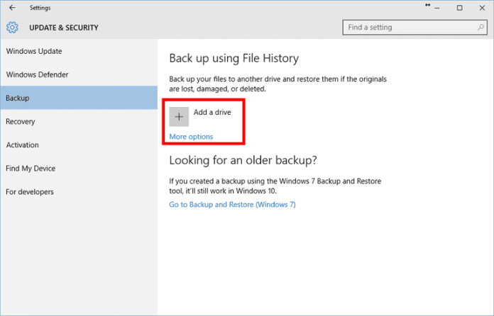File History screen 1