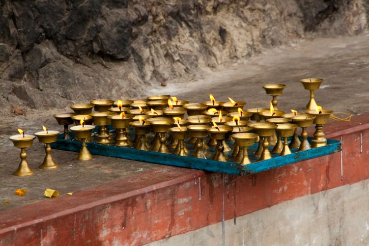 Lamps at the Entrance of Dungeshwari Cave.
