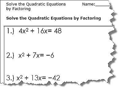 Quadratic Equation Worksheets