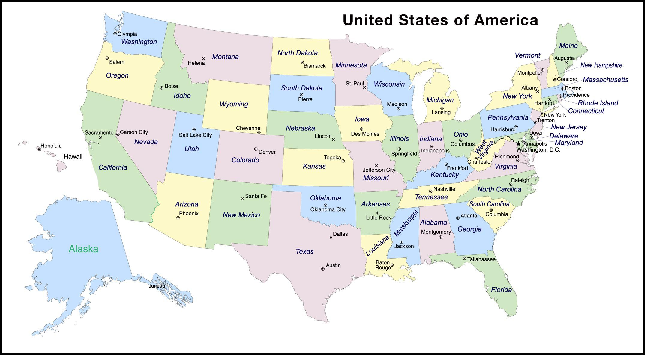 States And Capitals Of The United States