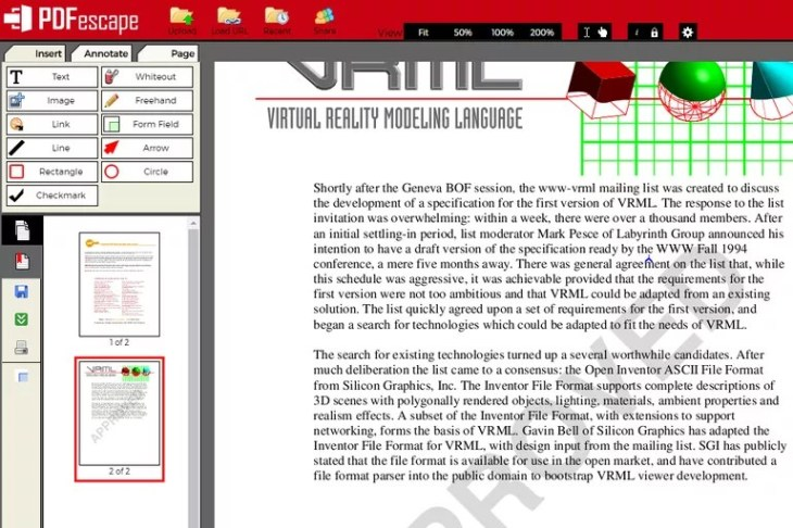 Screenshot of the PDFescape online PDF editor