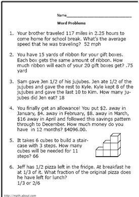 6th grade math answers