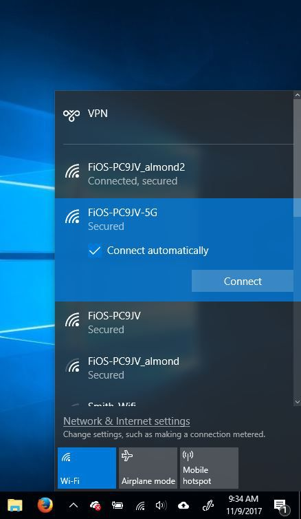 A picture of network options in Windows 10.