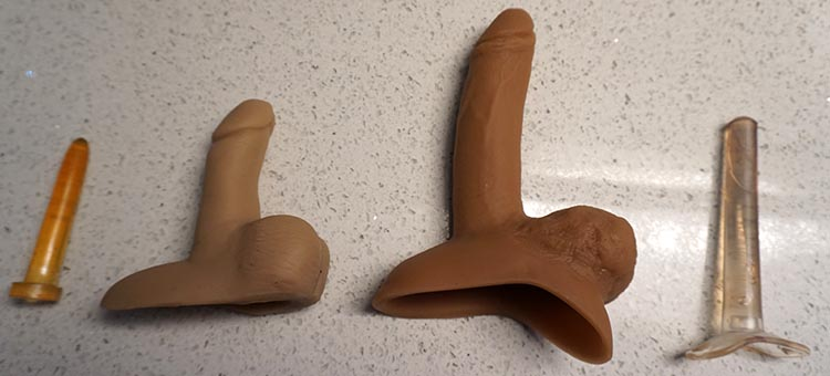 Some packers come with optional hard shafts that turn them into penetrative sex toys. These can be a lot of fun. They come in a wide range of sizes, too. These two were a small and a large. A Guide to Packers For Transmen and FTMs