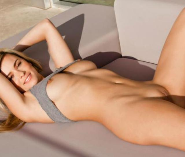 Beauty Couch Elizabeth Jean Gray Shirt Long Hair Nude Out