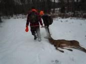 Rangers in Training dragging a buck