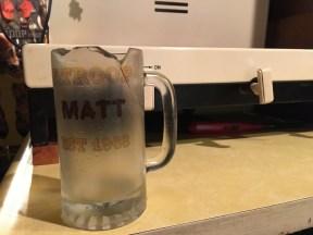 Digger smashes his beer mug