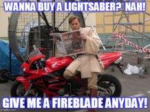 Obi-Wan resting on a FIREBLADE!