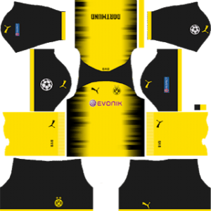 Borussia Dortmund International (UCL) Kits – Black Shorts