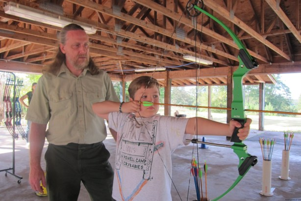 Learning archery at Panola Mountain State Park.