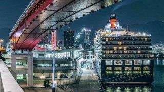神戸開港150年 クイーン・エリザベス入港