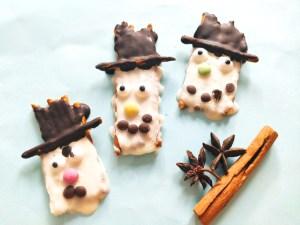 Süß & Salzig – Schneemänner aus Salzstangen