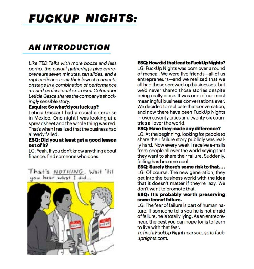 fuckup nights interview in Esquire