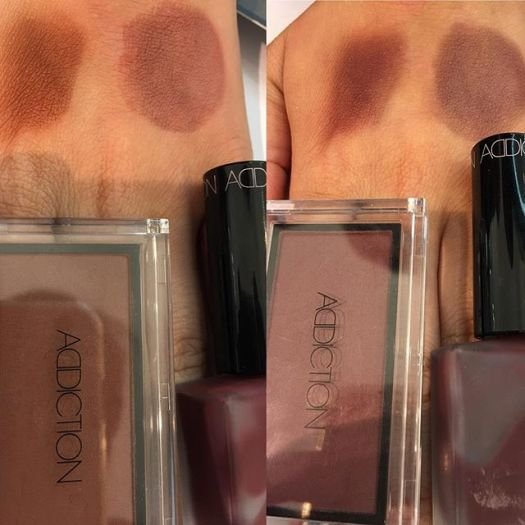 #addiction swatch 26 left and 27Some people asked me to swatch limited blush 2018 and these are a bit darker as she put more than usual (the right is cheek polish)3326 yen