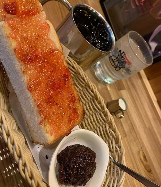 Came to #Komeda coffee : toast with #anko(sweet bean paste )comes with coffee