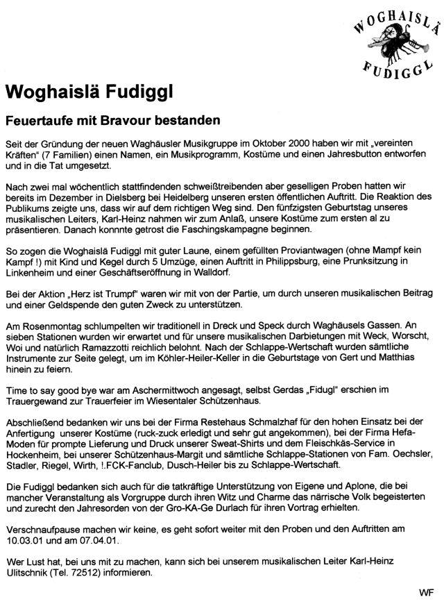 Bericht im Mitteilungsblatt: Feuertaufe mit Bravour bestanden ...