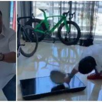 VIDEO: Cristian Casablanca vuelve a la carga y rompe otro televisor, esta vez con un caldero