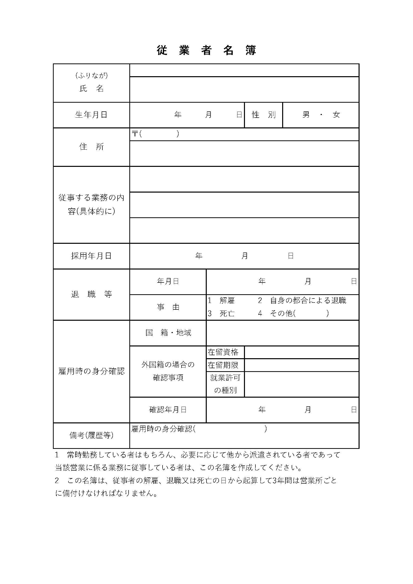従業者名簿の書き方について/風俗営業許可申請の必要書類④