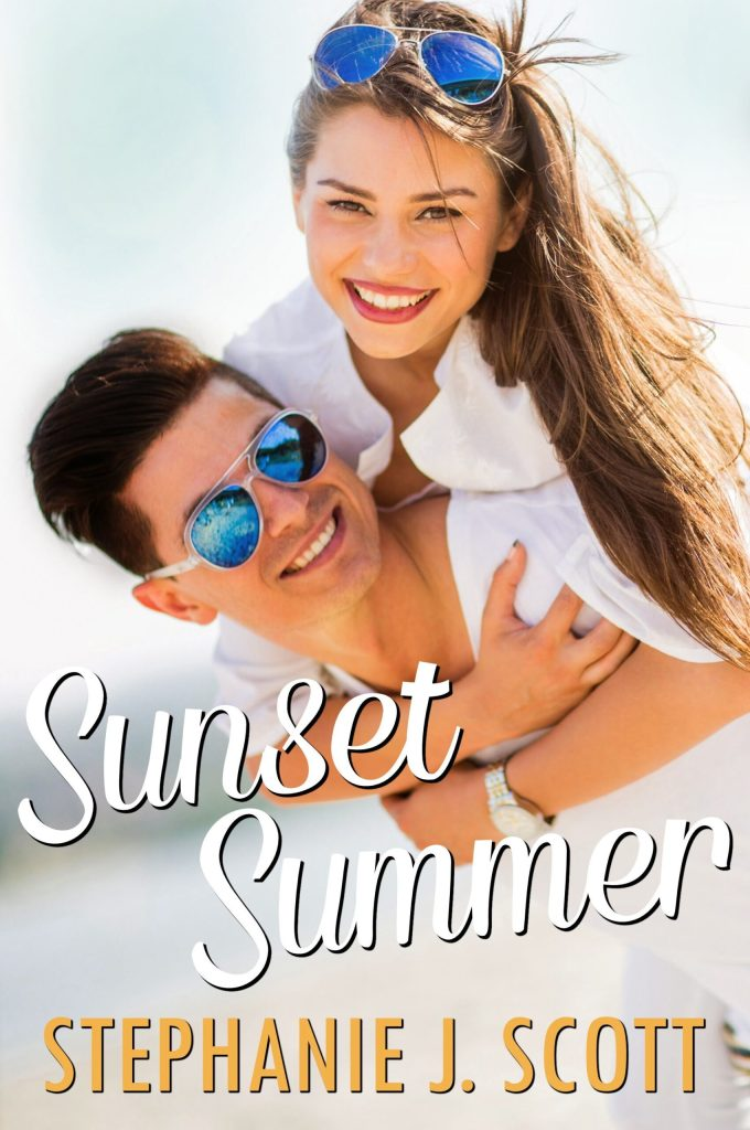 sunset summer book cover; a guy carrying a girl on his back