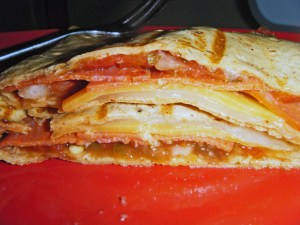 """I attempted to make """"pizza wraps"""" that I saw on pinterest too.  It was just melted cheese, pepperoni grilled in a wrap.  It was actually pretty good but I'll work more on it."""