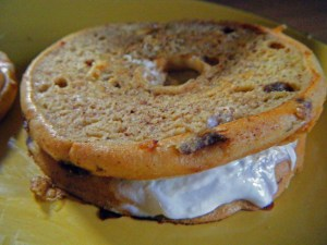 Bagel+peanut butter+yogurt also make me happy