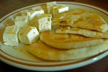 pita bread, feta and olive oil is my favorite.