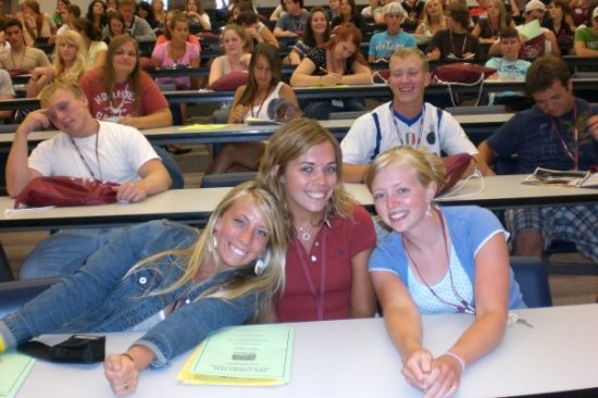 College orientation with my freshman roommate (Kierstin on the right).