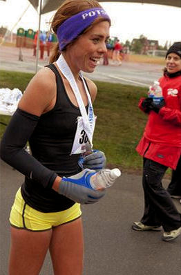 Winning my first half marathon in Plattsburgh!