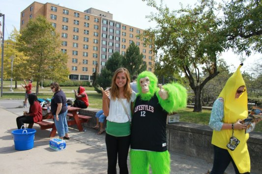 I once partnered around with a monkey on campus.