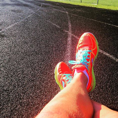 Appropriate foot on track post workout pose