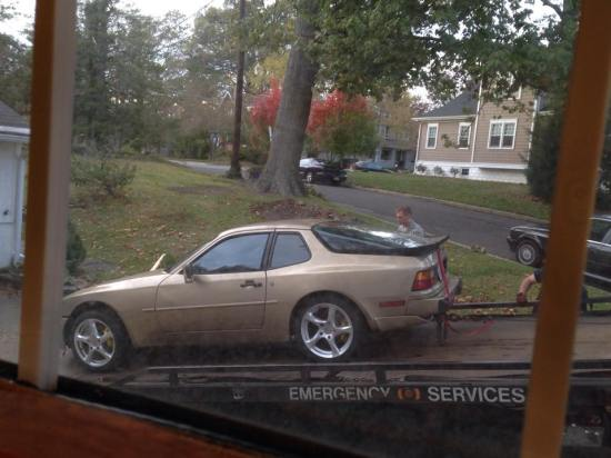 We had it towed during our move...since without an engine cars don't go too far...