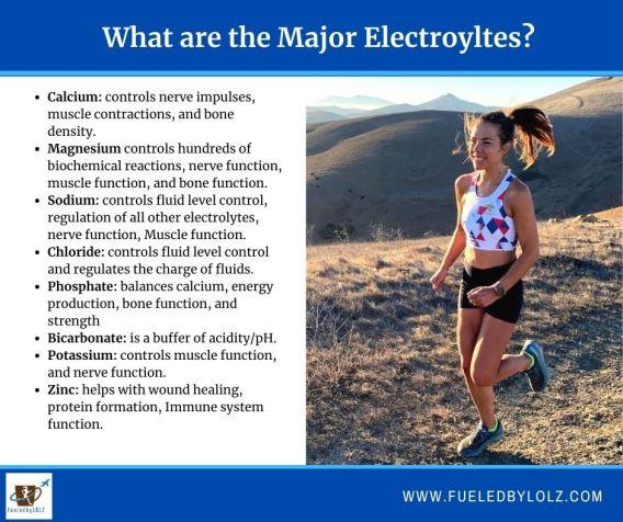 Major electrolytes for runners
